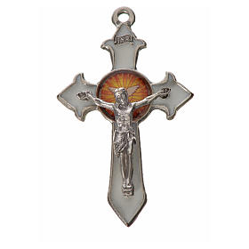 Holy Spirit pointed cross 4.5x2.8cm in zamak, white enamel s1
