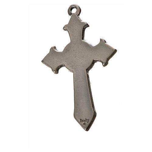Holy Spirit pointed cross 4.5x2.8cm in zamak, white enamel 2