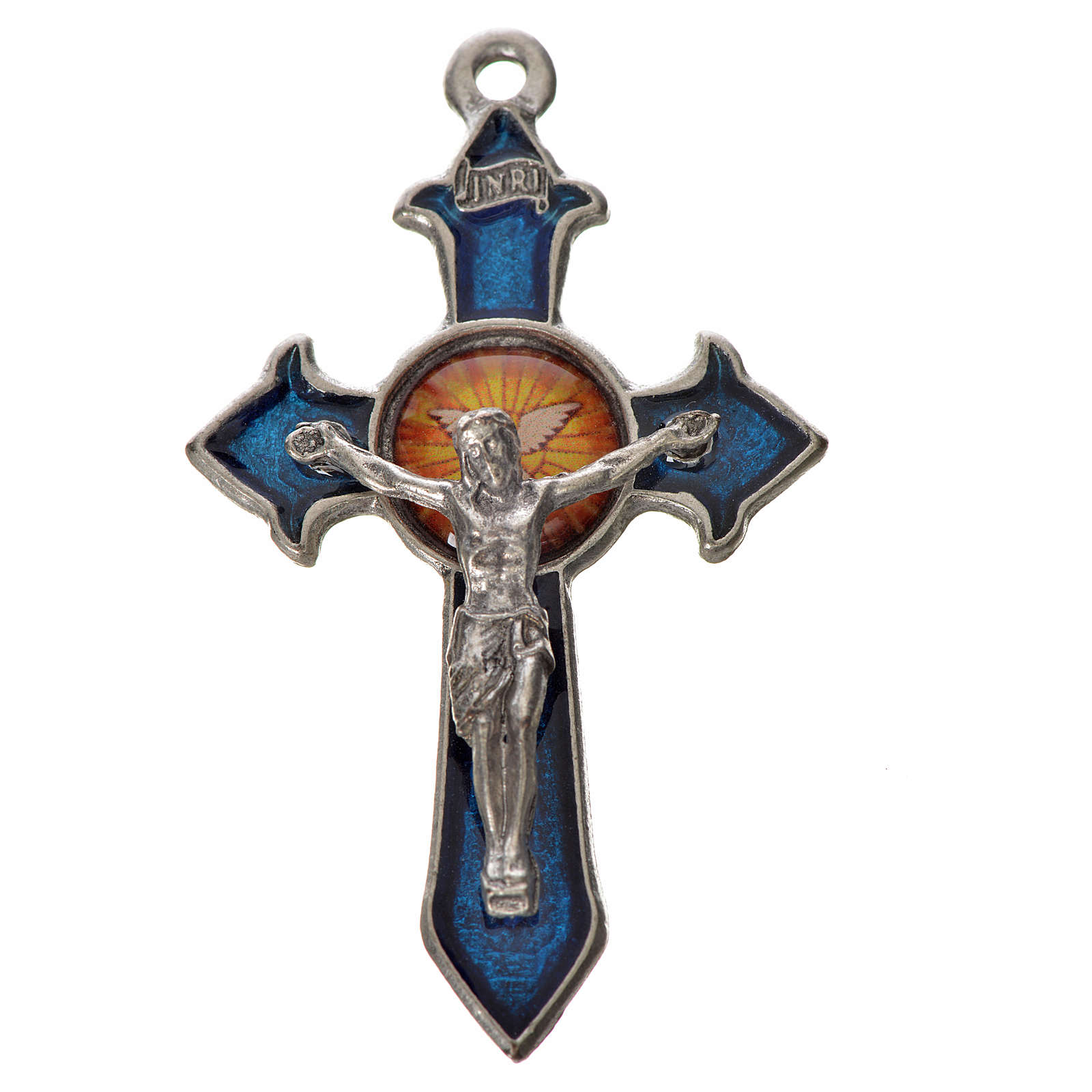 Croix Saint Esprit avec pointes 4,5x2,8 zamac émail bleu 4