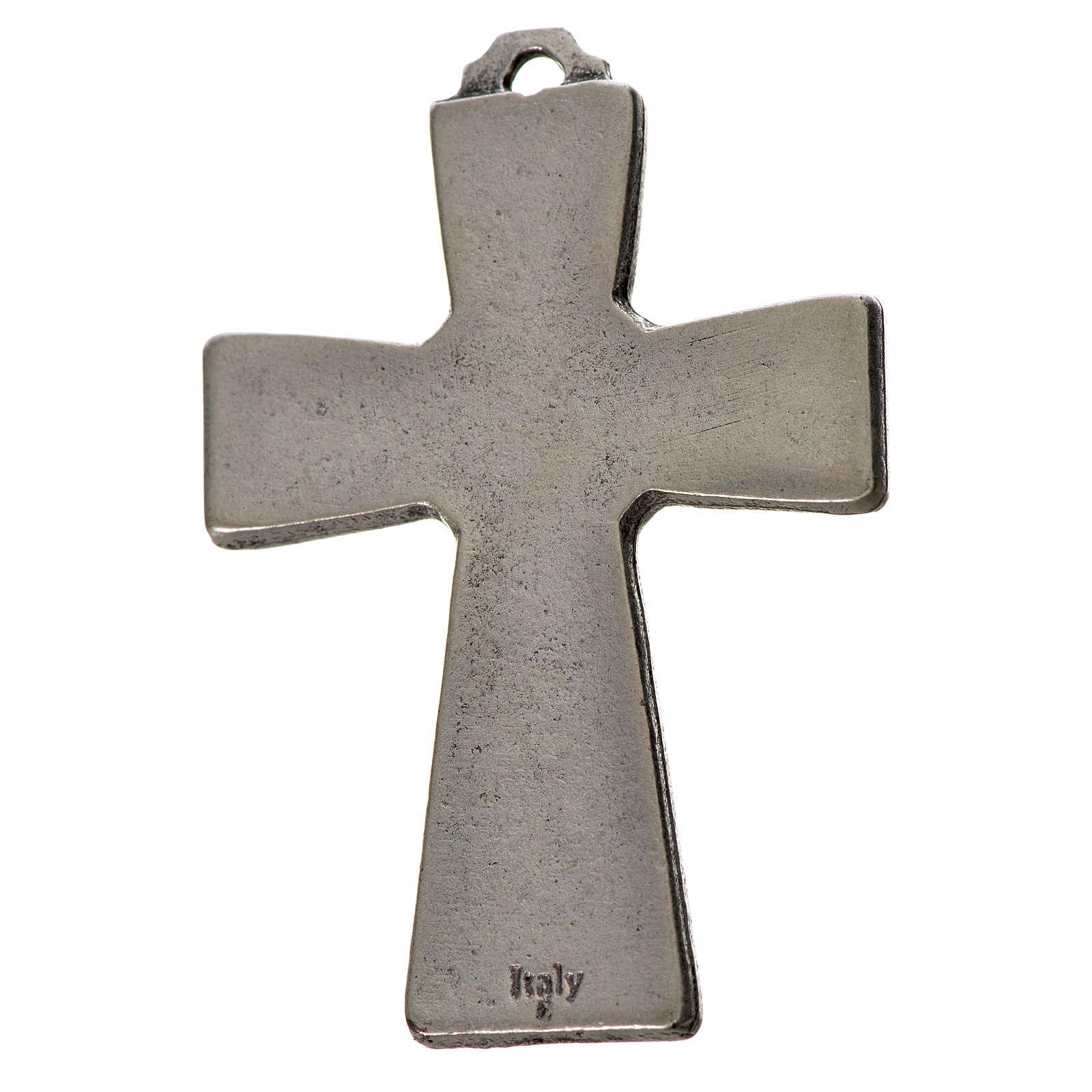 Holy Spirit cross 5x3.5cm in zamak, white enamel 4