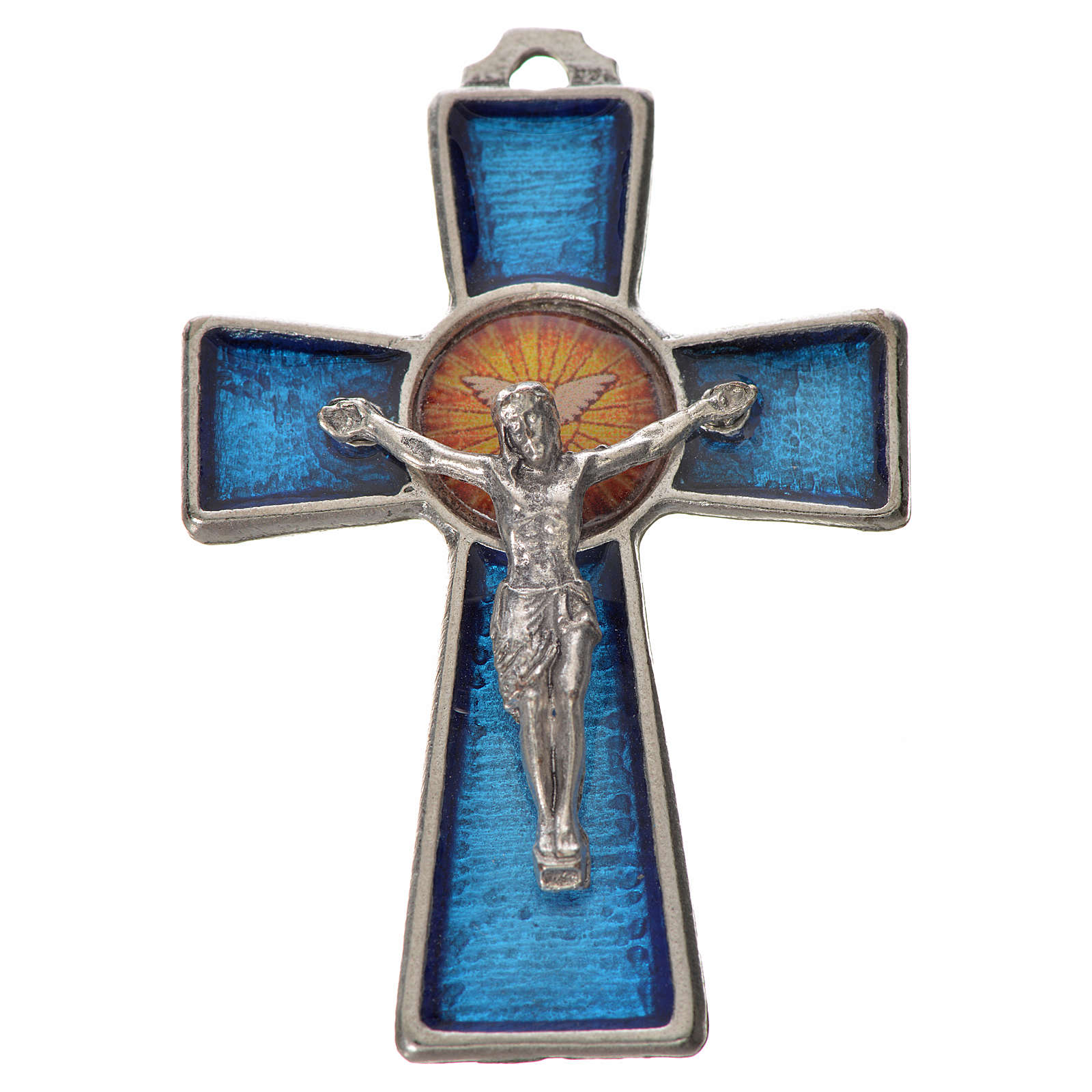 Holy Spirit cross 5x3.5cm in zamak, blue enamel 4