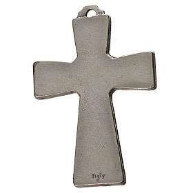 Holy Spirit cross 5x3.5cm in zamak, blue enamel s2