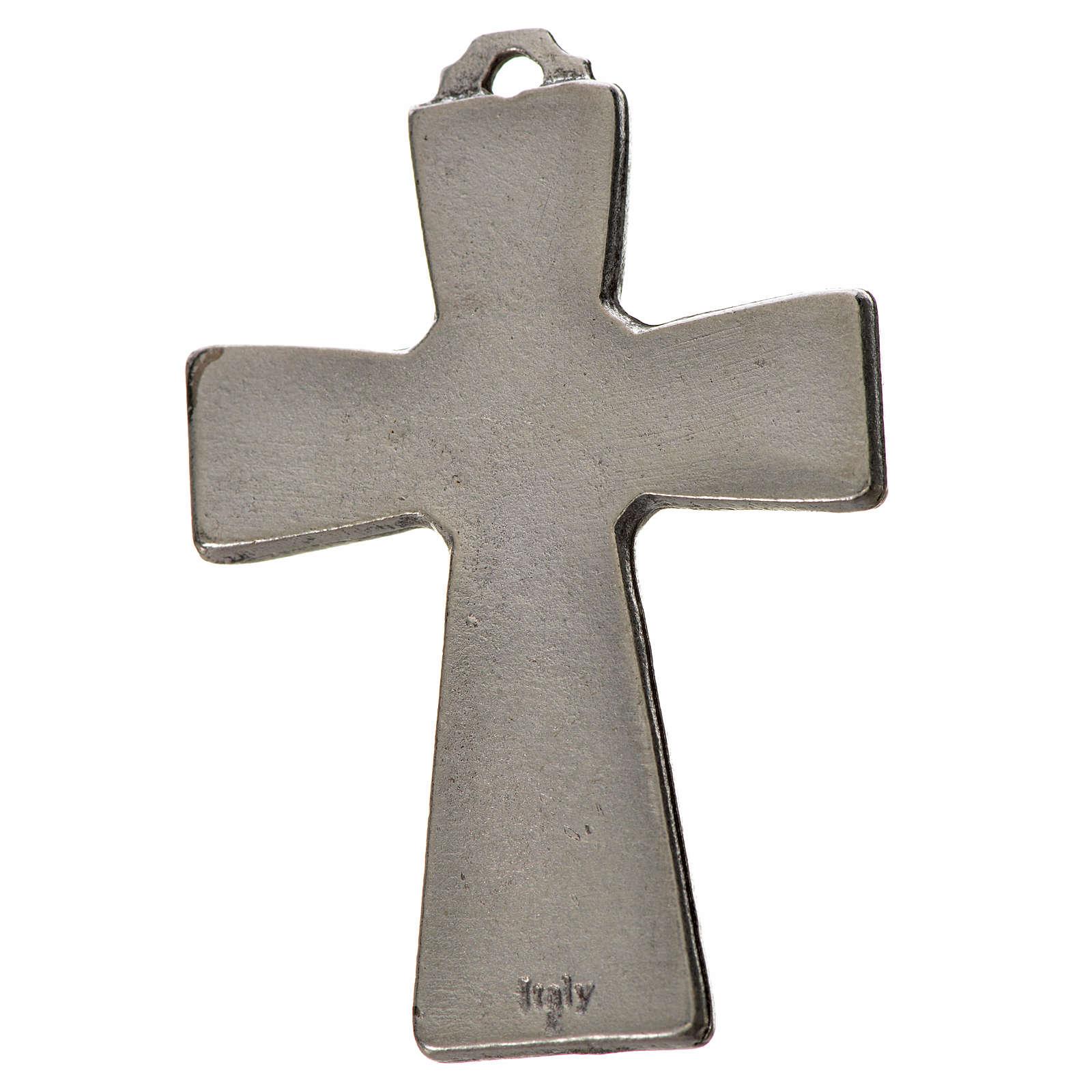 Holy Spirit cross 5x3.5cm in zamak, blue enamel 4