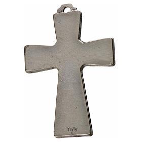 Holy Spirit cross 5x3.5cm in zamak, blue enamel s2