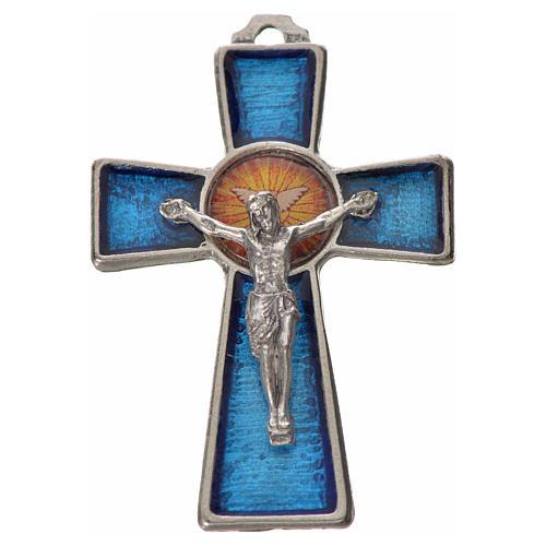 Holy Spirit cross 5x3.5cm in zamak, blue enamel 1
