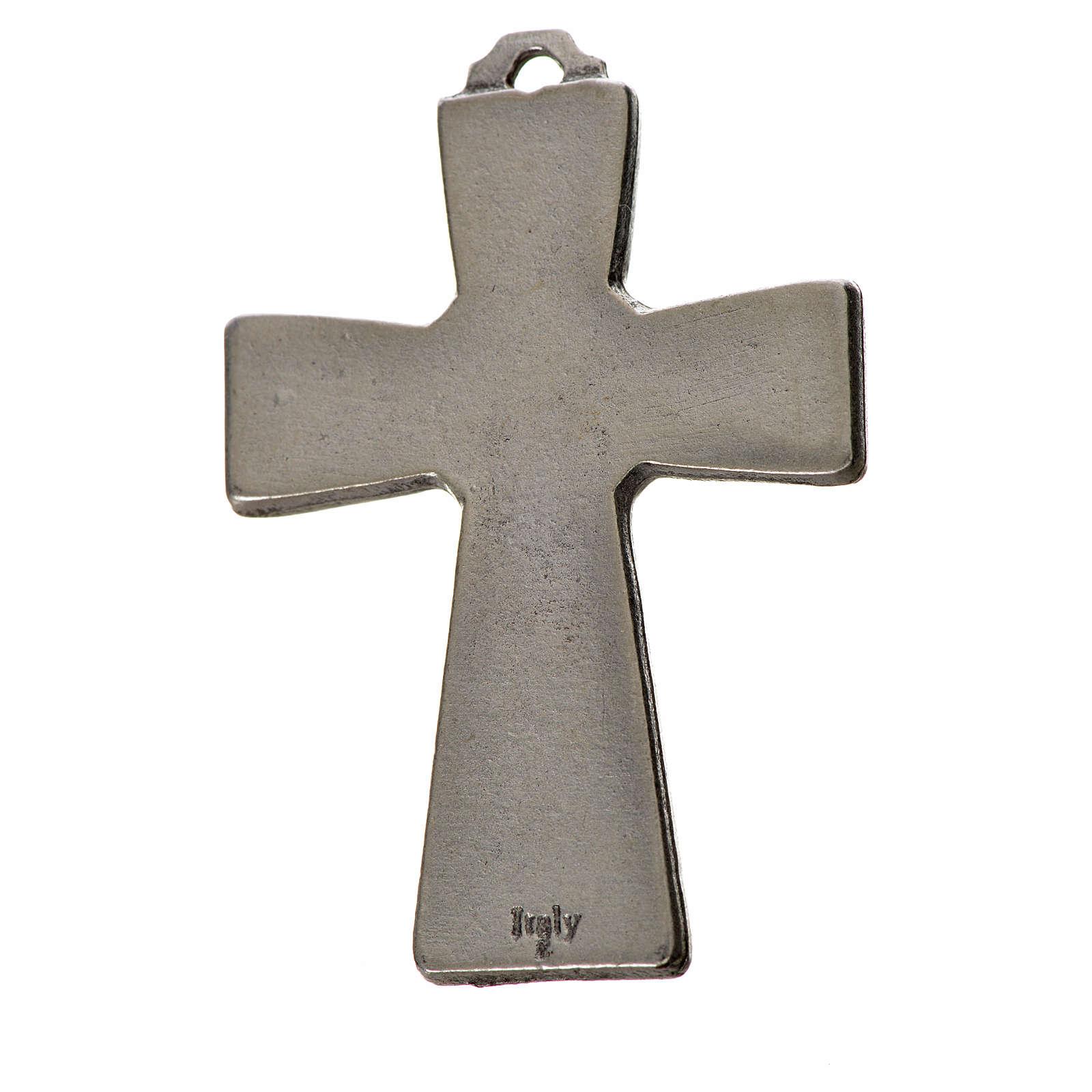 Cruz trilobulada Espíritu Santo 5x3.5cm zamak y esmalte negro 4