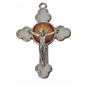 Cruz Espírito Santo em trevo zamak esmalte branco 4,8x3,2 cm s1