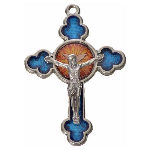 Cruz trilobulada Espíritu Santo 4.8x3.2cm zamak y esmalte azul 1
