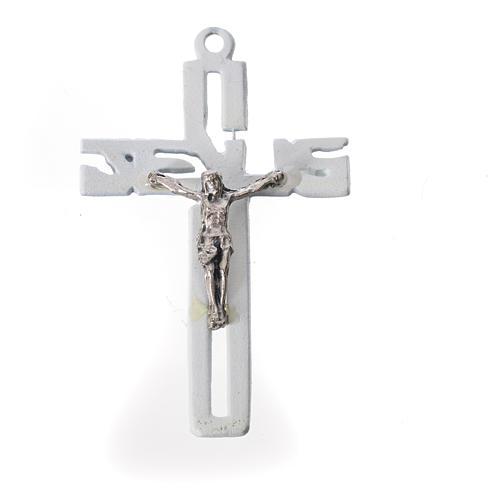 Pendente crocifisso stilizzato zama bianco 1