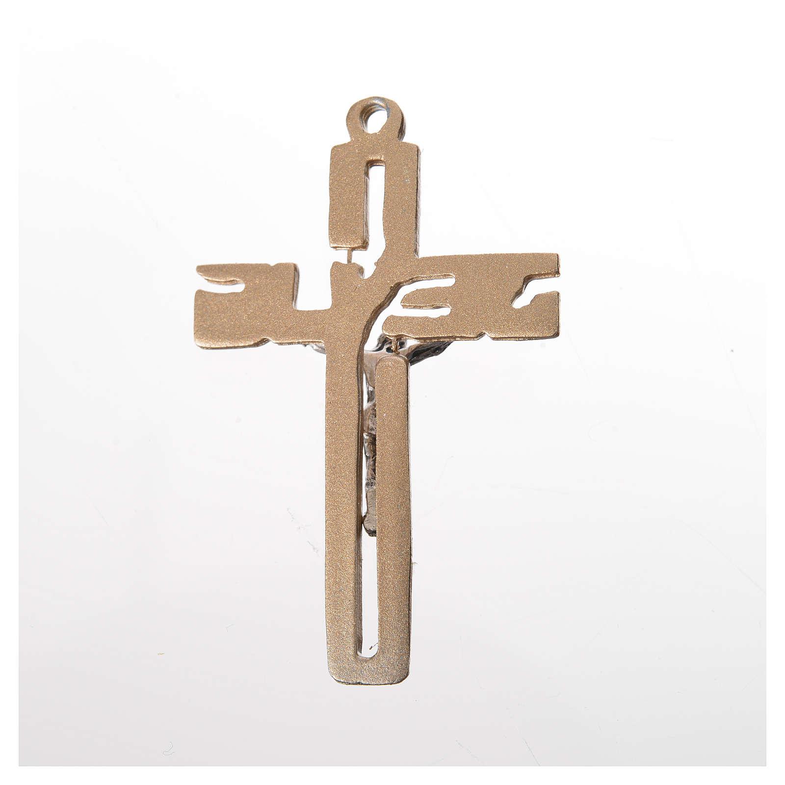 Crucifijo colgante estilizado en zamak dorado 4