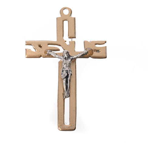 Crucifijo colgante estilizado en zamak dorado 1