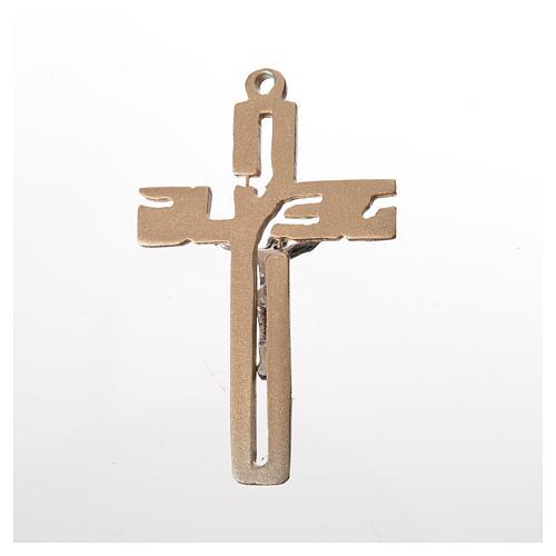 Pendente crocifisso stilizzato zama dorato 2