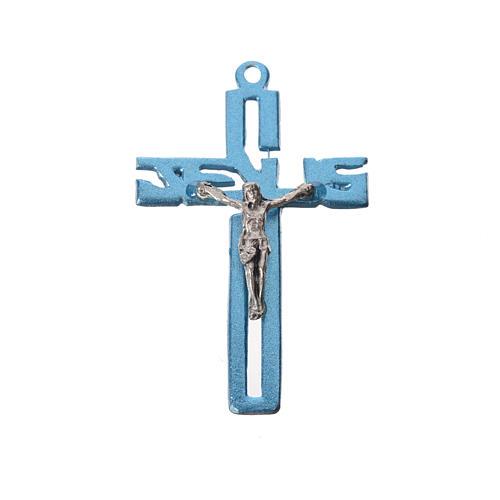 Pendente crocifisso stilizzato zama azzurro 1