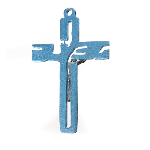Pendente crocifisso stilizzato zama azzurro 2