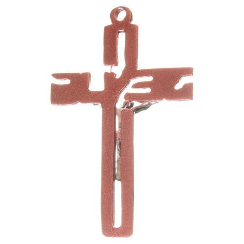 Pendant stylised crucifix in red zamak 2
