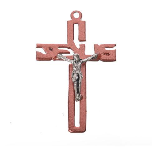 Crucifijo colgante estilizado en zamak rosa 1