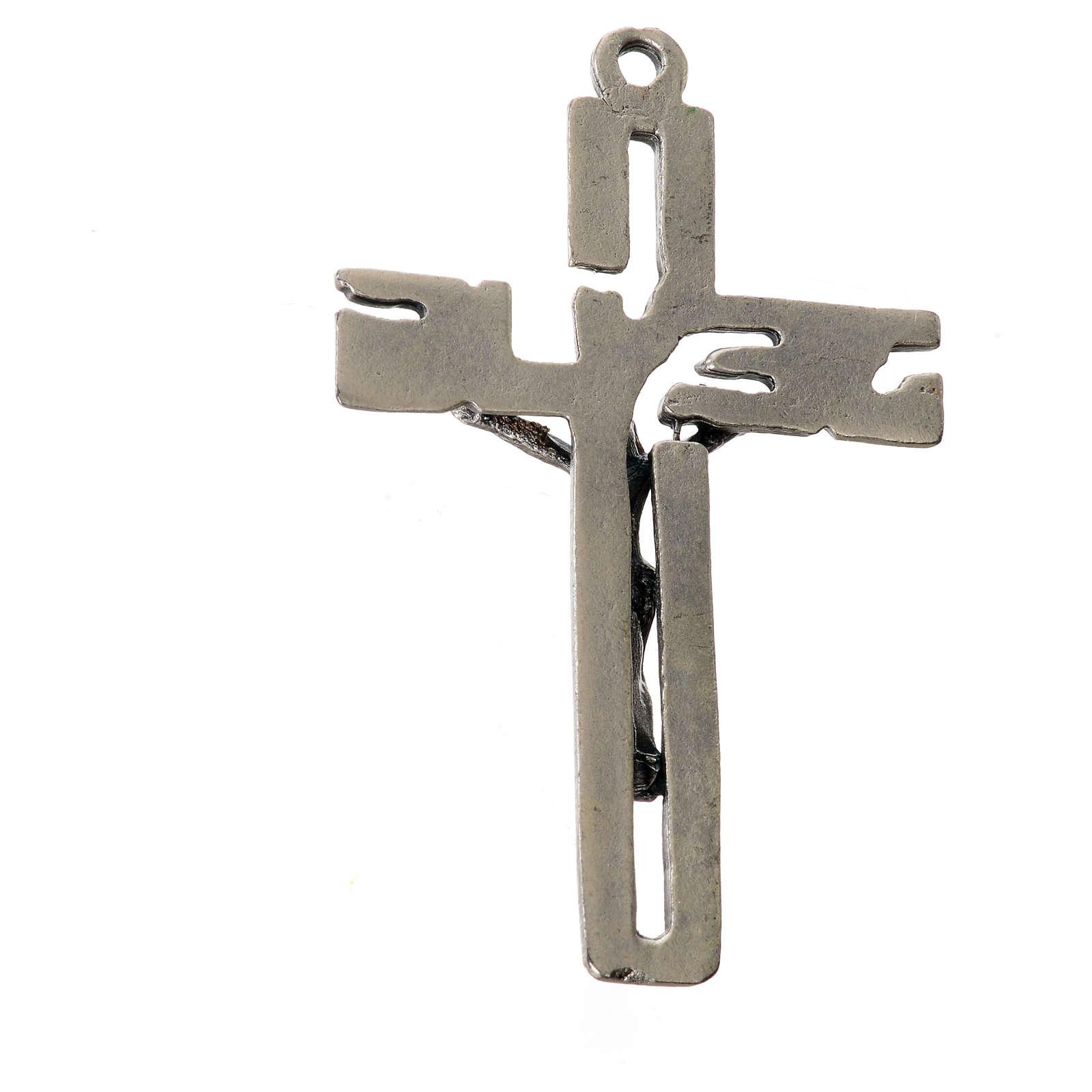 Crucifijo colgante estilizado en zamak plateado 4