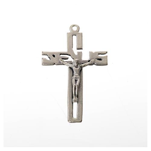 Crucifijo colgante estilizado en zamak plateado 1