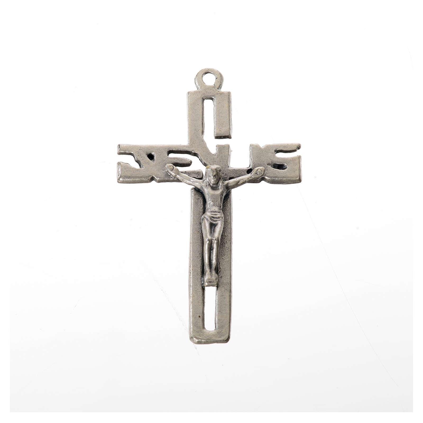 Pendente crocifisso stilizzato zama argentato 4