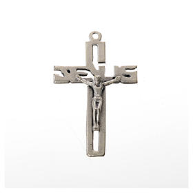 Pendente crocifisso stilizzato zama argentato s1