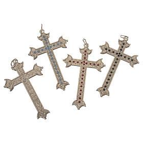 Croce in metallo e strass 7 cm s2