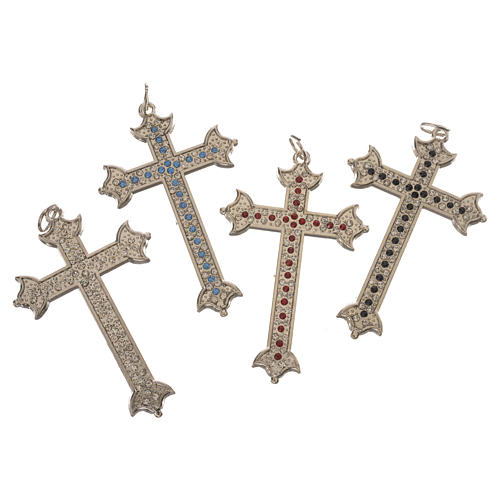 Croce in metallo e strass 7 cm 2