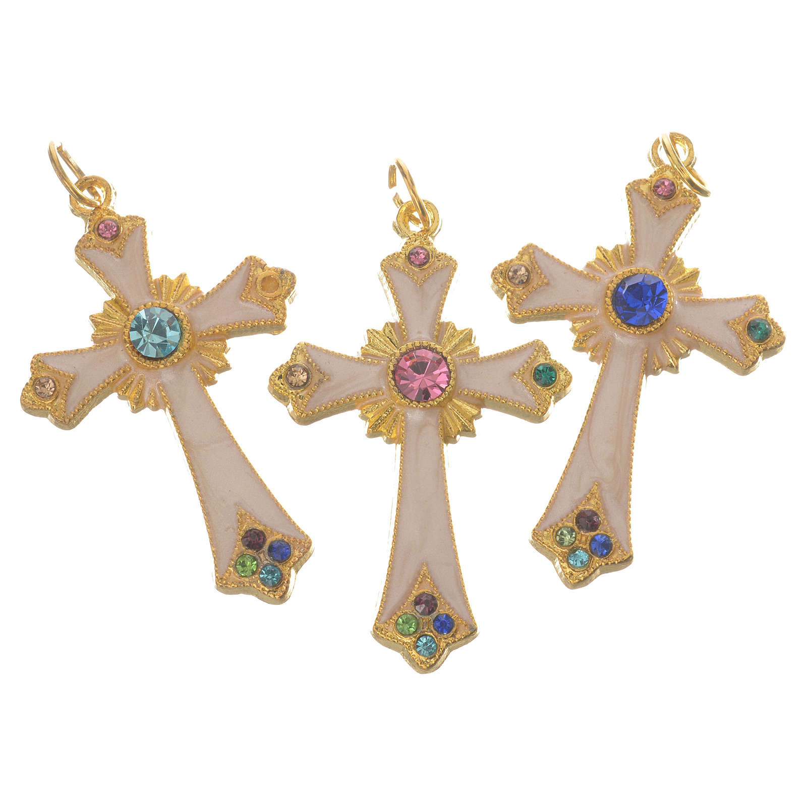 Pendant cross in gold metal 4