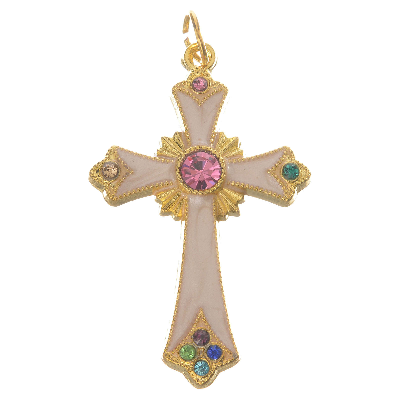 Pendant cross in gold metal 4
