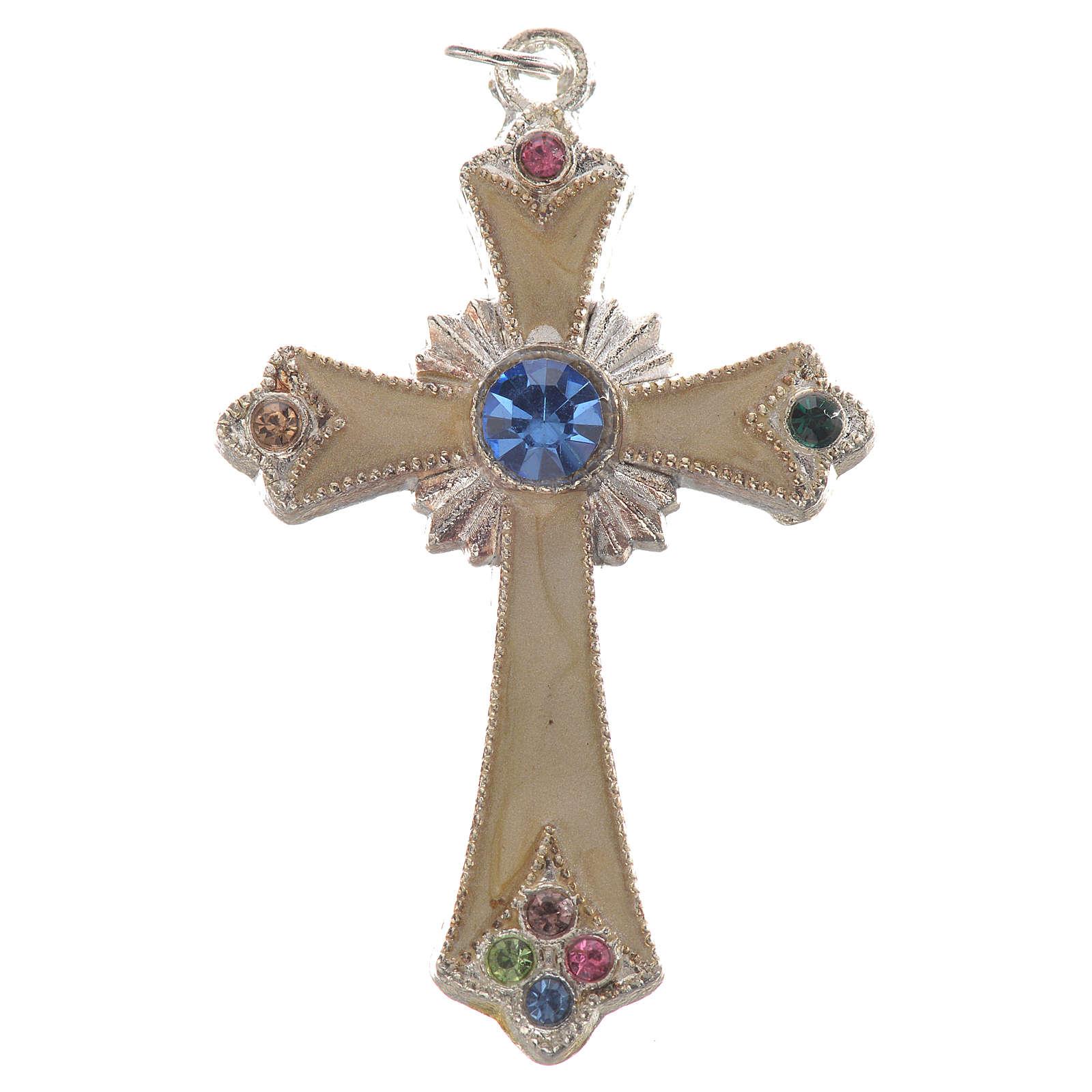 Croix pendentif métal argenté 4