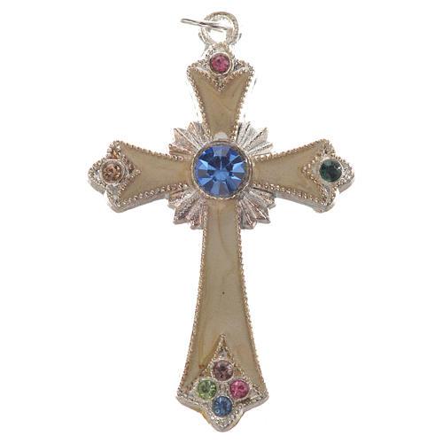 Croix pendentif métal argenté 1