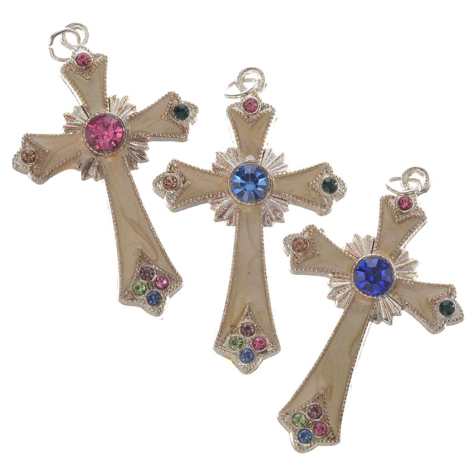 Croce pendente metallo argentato 4