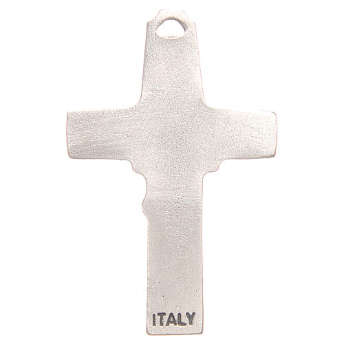 Pendant cross with incision of a shepherd with a sheep in antique silver with galvanic plating 2