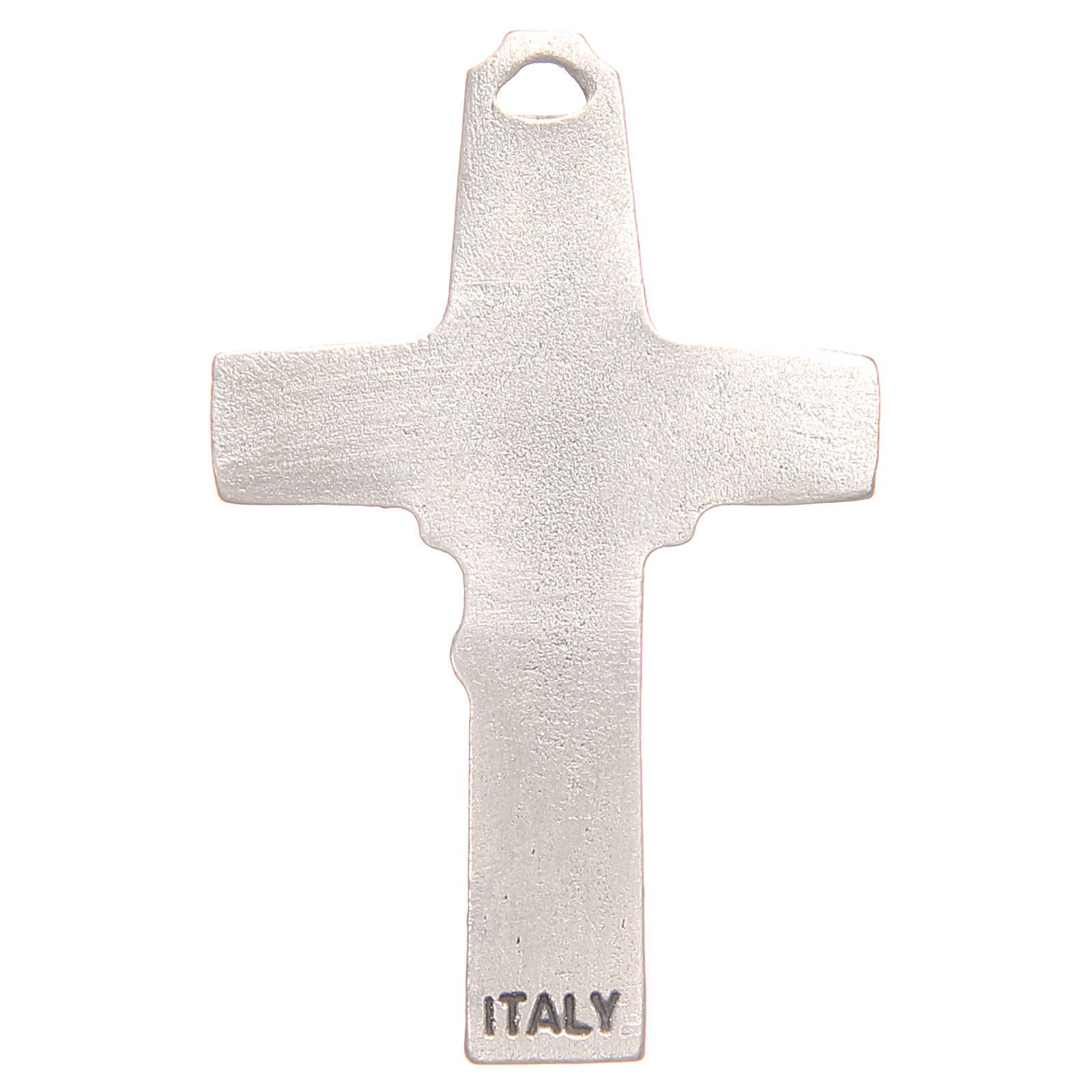 Pendant cross with incision of a shepherd with a sheep in antique silver with galvanic plating 4