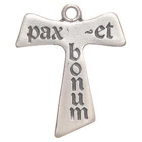 Croix tau Pax et Bonum zamac argenté vieilli s1