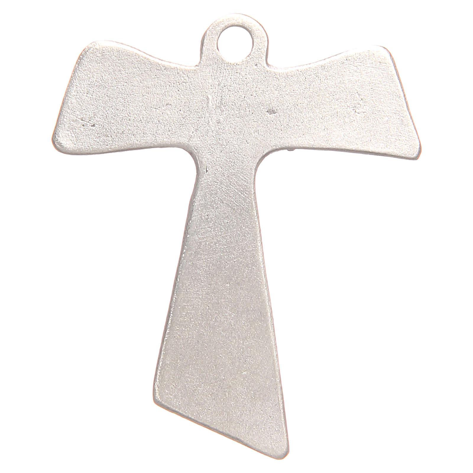 Croce tau Pax et Bonum galvanica argento antico 4