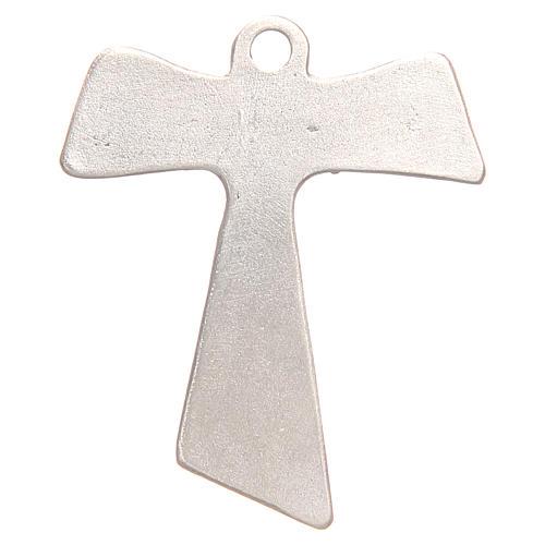 Croce tau Pax et Bonum galvanica argento antico 2