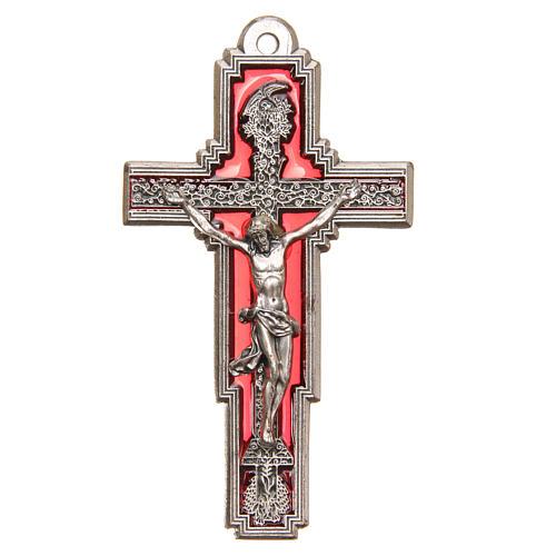 STOCK Croce Albero della Vita metallo cm 9 smalto rosso Cristo 1