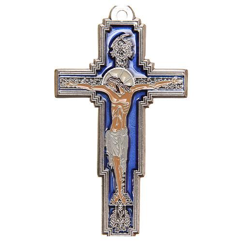 STOCK Croix Arbre Vie métal 9 cm émail bleu calice gravé 1