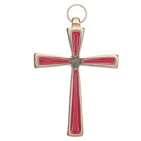 Gold metal cross varnished in red 7 cm s1
