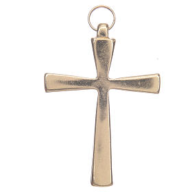 Gold metal cross varnished in red 7 cm s2