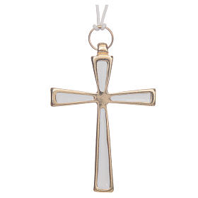 Metal Cross Pendants: Cross in gold metal varnished in white with cord 7 cm
