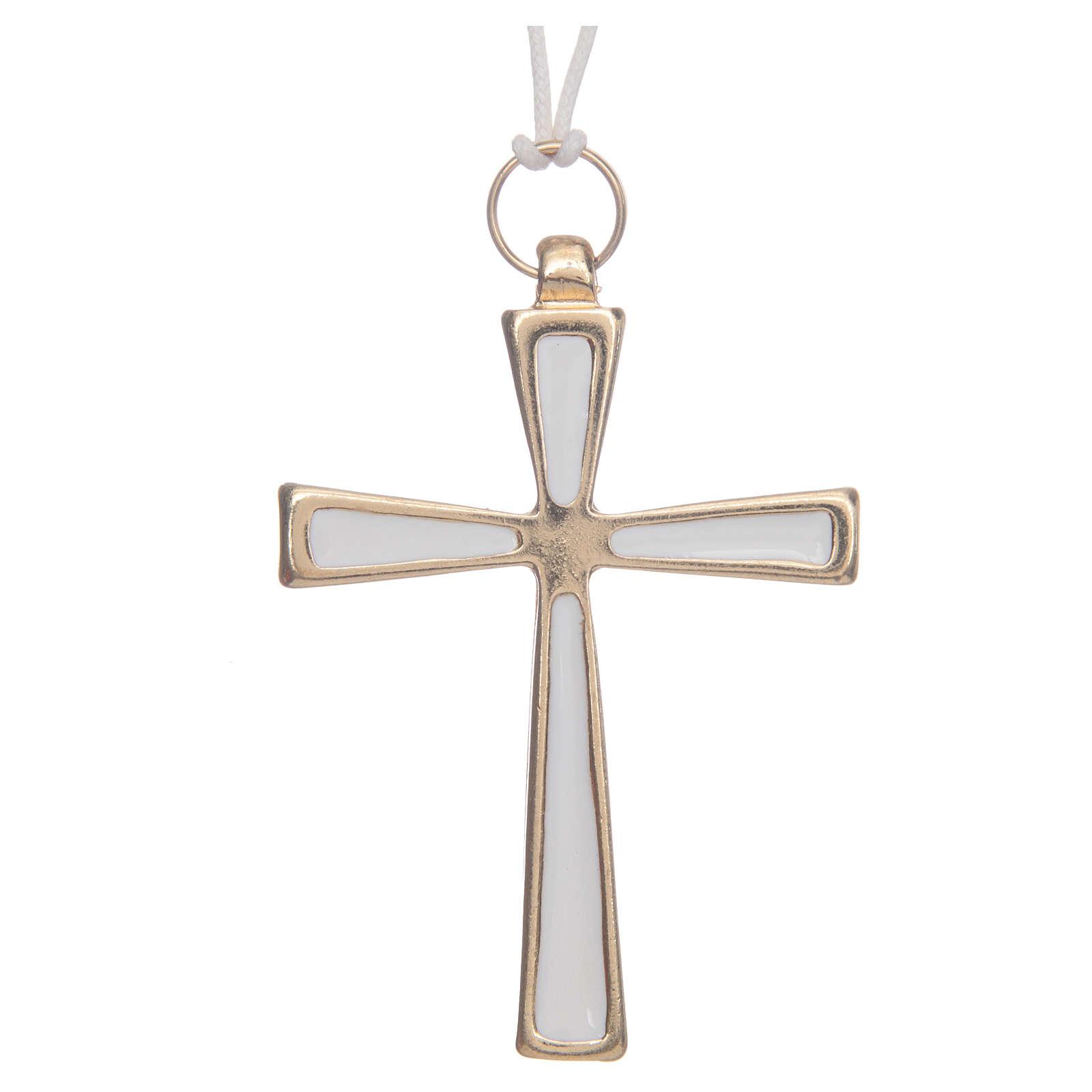 Croce metallo dorato smalto bianco e cordoncino cm 7 4