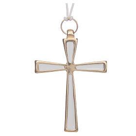 Croce metallo dorato smalto bianco e cordoncino cm 7 s1