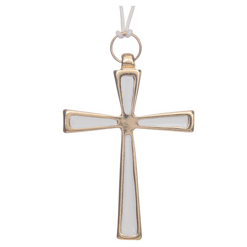 Croce metallo dorato smalto bianco e cordoncino cm 7 1