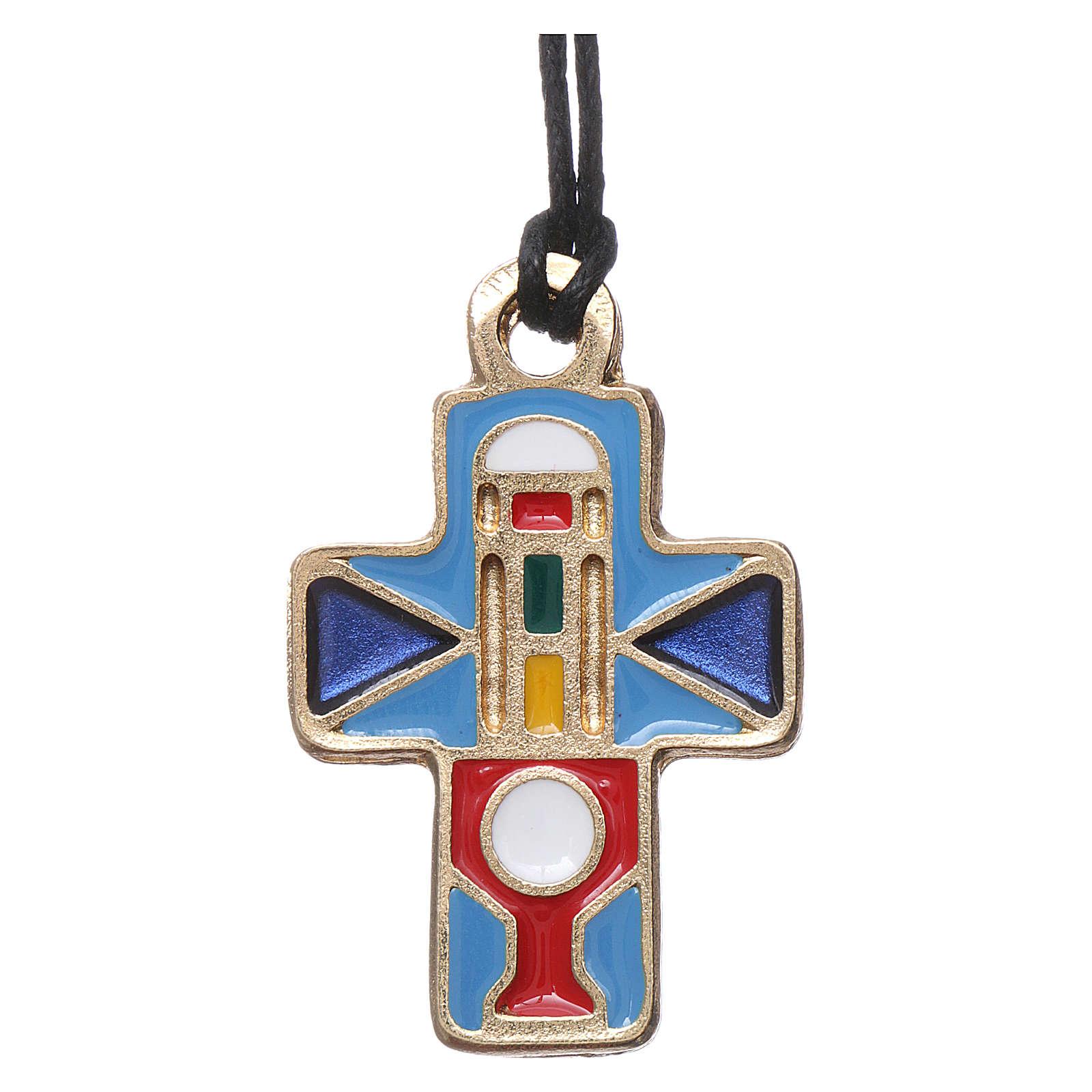 Collana Croce metallo smalto rosso blu azzurro 3 cm 4