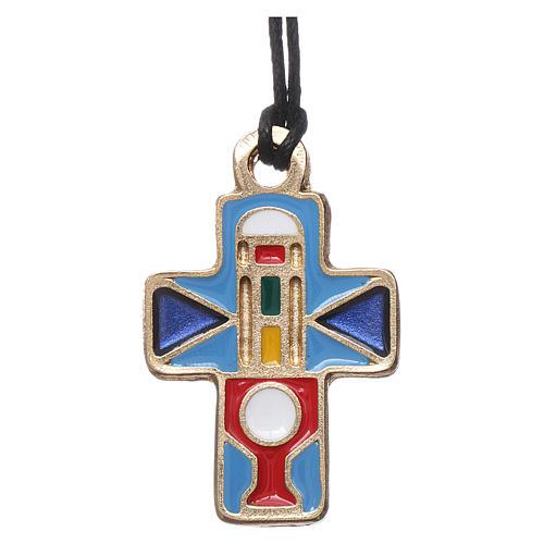 Collana Croce metallo smalto rosso blu azzurro 3 cm 1