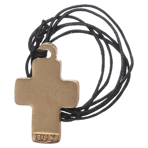 Cross necklace in red light blue and dark blue enamel metal 3 cm 2
