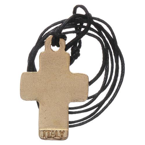 Collier croix métal émail jaune taupe orange 3 cm 2