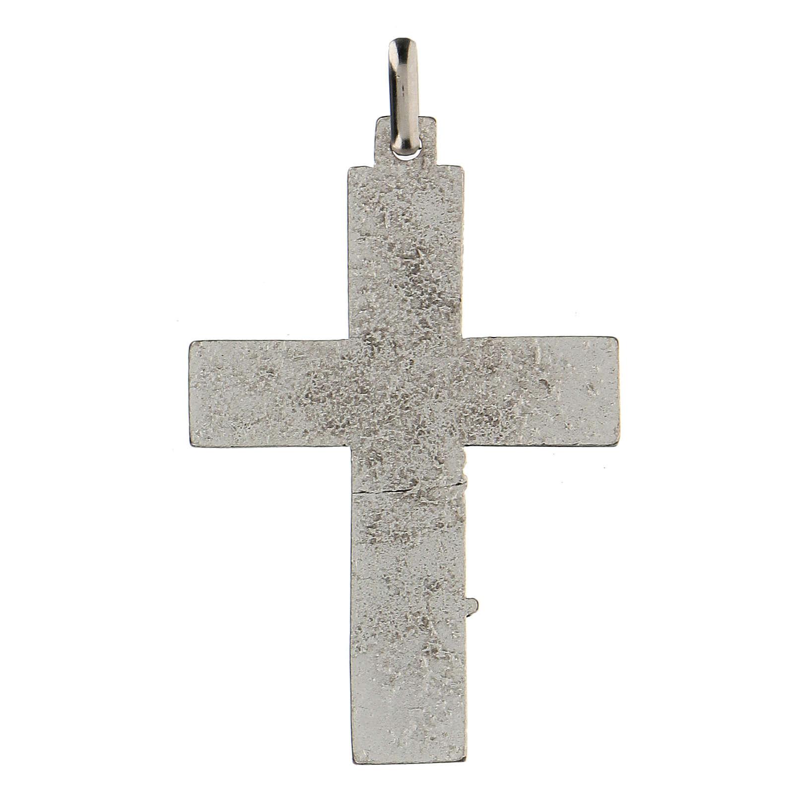 Colgante en forma de cruz con árbol de la vida azul 5 cm zamak 4