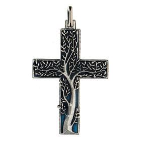 Colgante en forma de cruz con árbol de la vida azul 5 cm zamak s1
